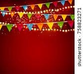 beautiful christmas vector... | Shutterstock .eps vector #758823271