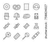 sweets  thin monochrome icon... | Shutterstock .eps vector #758824027