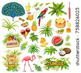set  of elements wooden sign ... | Shutterstock .eps vector #758826025