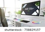 digital agency design studio 3d ... | Shutterstock . vector #758829157