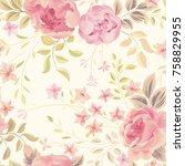 floral seamless pattern. flower ... | Shutterstock .eps vector #758829955