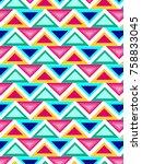 retro geometric pattern   Shutterstock .eps vector #758833045