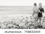 black and white rear view of... | Shutterstock . vector #758833345