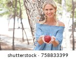 portrait of a beautiful smiling ... | Shutterstock . vector #758833399