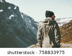 man traveler hiking in... | Shutterstock . vector #758833975