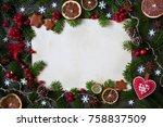 christmas background for... | Shutterstock . vector #758837509