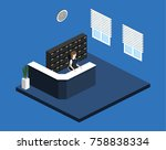 isometric 3d illustration... | Shutterstock .eps vector #758838334