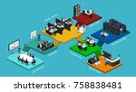 isometric flat 3d office... | Shutterstock .eps vector #758838481