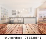 closeup top wood table with... | Shutterstock . vector #758838541