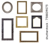 set of gold  silver and wooden... | Shutterstock . vector #758839075