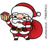 cute cartoon santa claus coming ... | Shutterstock . vector #758839411