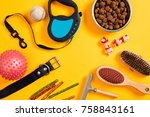 Stock photo dog accessories on yellow background top view pets and animals concept 758843161