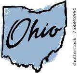 hand drawn ohio state... | Shutterstock .eps vector #758843995