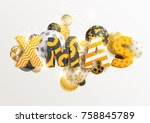 christmas golden greeting card | Shutterstock .eps vector #758845789