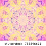 digital retro abstract mandala. ... | Shutterstock . vector #758846611