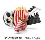 carton bowl full of popcorn | Shutterstock .eps vector #758847181