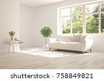 idea of white room with sofa... | Shutterstock . vector #758849821