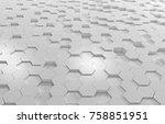white hexagon 3d background... | Shutterstock . vector #758851951