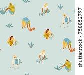 gardening seamless pattern.... | Shutterstock .eps vector #758852797