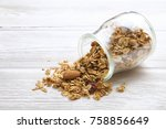 granola superfood with almond... | Shutterstock . vector #758856649