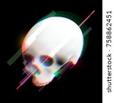 human skull in distorted glitch ... | Shutterstock .eps vector #758862451
