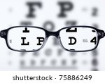 reading eyeglasses and eye chart | Shutterstock . vector #75886249