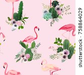 flamingo bird and tropical... | Shutterstock .eps vector #758864029