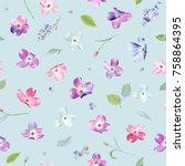 spring flowers seamless pattern.... | Shutterstock .eps vector #758864395