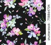 spring flowers seamless pattern....   Shutterstock .eps vector #758864734