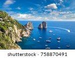 capri island in a beautiful...   Shutterstock . vector #758870491