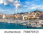 aerial panoramic view on... | Shutterstock . vector #758870515