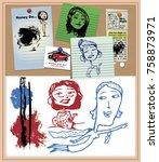 corkboard doodles vector | Shutterstock .eps vector #758873971