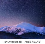 beautiful winter landscape in... | Shutterstock . vector #758876149