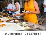 the buffet in the hotel full of ...   Shutterstock . vector #758878564