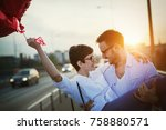 beautiful couple in love at... | Shutterstock . vector #758880571