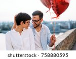 young couple in love dating and ... | Shutterstock . vector #758880595