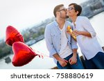 romantic young couple dating... | Shutterstock . vector #758880619