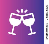 two glasses of wine or...   Shutterstock .eps vector #758885821