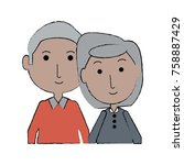 cartoon eldery couple icon over ...   Shutterstock .eps vector #758887429