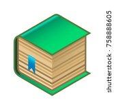 green book with bookmark | Shutterstock .eps vector #758888605