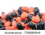multicolored tablets. medical... | Shutterstock . vector #758889049