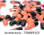 multicolored tablets. medical... | Shutterstock . vector #758889325