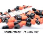 multicolored tablets. medical... | Shutterstock . vector #758889409