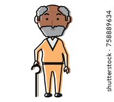 elderly man with a walking... | Shutterstock .eps vector #758889634