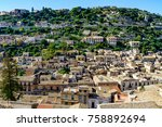 view of modica city in sicily... | Shutterstock . vector #758892694