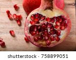 Half Of Pomegranate With Red...