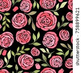 beautiful seamless pattern with ... | Shutterstock . vector #758899621