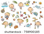 funny kids set  summer ... | Shutterstock .eps vector #758900185