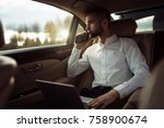 man looking away while sitting... | Shutterstock . vector #758900674
