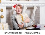portrait of little boy. smiling ... | Shutterstock . vector #758905951